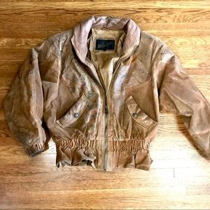 Vintage 80s Leather Patterned Bomber Jacket Small